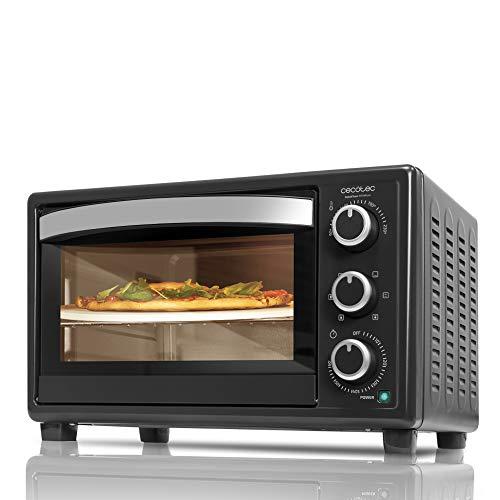 Cecotec Horno Sobremesa con piedra para pizza Bake&Toast 570 4Pizza. 1500 W, Horno eléctrico multifunción de sobremesa, Cocina por convección, Luz interior, Puerta con doble cristal