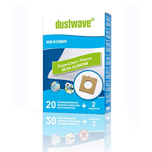dustwave – 20 bolsas de filtro de polvo para Bluesky – BVC 1600/BVC1600 – Bolsa para aspiradora de marca dustwave / Fabricado en Alemania + Incluye microfiltro