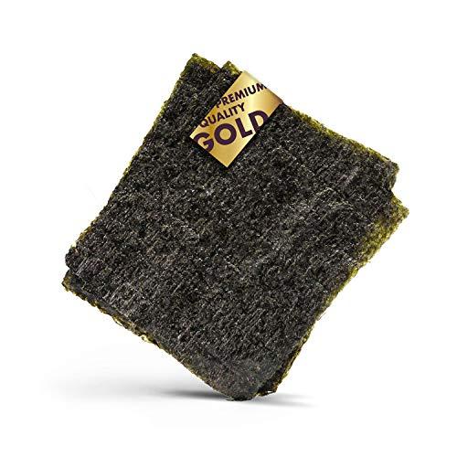 Reishunger Alga Nori para Sushi en Calidad de Oro 140g (50 Hojas Enteras a 2,8g) - Premium Algas Nori para Maki Sushi con Grado de Oro