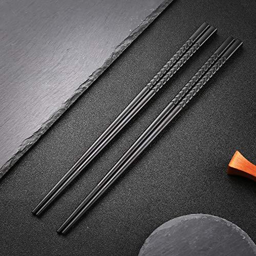hopewey Palillos japoneses 5 Pares de bastidores de Almuerzo de aleación Reutilizables bastidores Lavables para Juegos de vajilla de Mesa con Lujo Negro Hecho a Mano G3