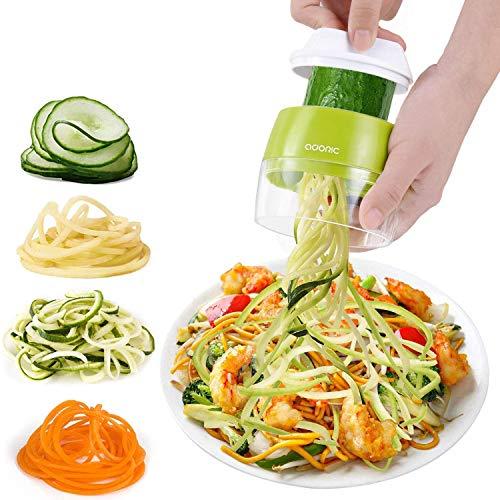 Adoric Cortador de Verdura 4 en 1 Rallador de Verduras Calabacin Pasta Espiralizador Vegetal Veggetti Slicer Pepino, Espaguetis de Calabacin, Cortador Espiral Manual (Verde)