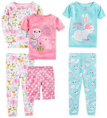 Simple Joys by Carter's - Pijamas enteros - Juego de pijama de algodón de ajuste cómodo de 6 piezas. - para bebé niña multicolor Conejo/Animales Verde 2 Years
