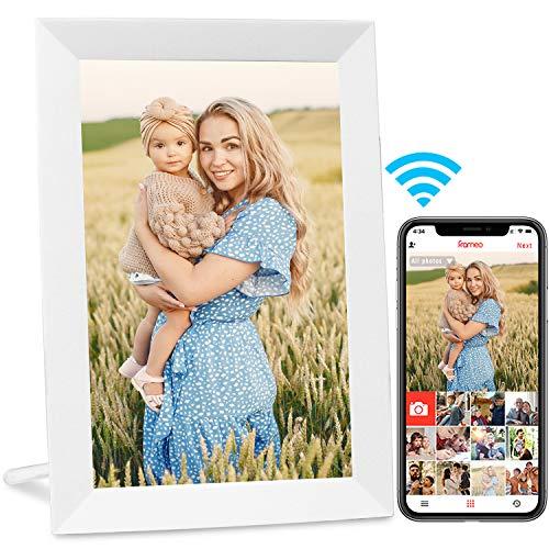 AEEZO Marco de Fotos Digital WiFi de 9 Pulgadas, visualización táctil IPS HD, función de rotación automática, fácil configuración para Compartir Fotos y vídeos (Blanco)