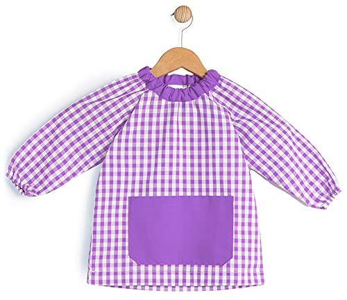 BeBright Bata Escolar Infantil, Baby Escolar Niña y Niño, Babi para Colegio y Guarderías- Fabricado en España (Lila, 1-2 años)