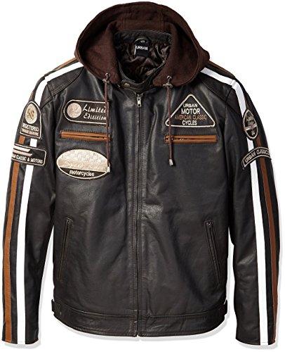 Chaqueta Moto Hombre en Cuero Urban Leather '58 GENTS'   Chaqueta Cuero Hombre   Cazadora de Moto de Piel de Cordero   Armadura Removible para Espalda, Hombros y Codos Aprobada por la CE  Marrón   3XL