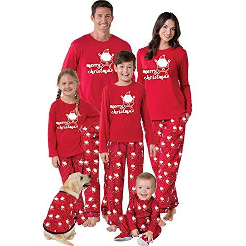 K-youth Ropa de Casa Familia Conjunto de Pijamas Familiares Unisexo Papá Noel Pijamas de Navidad Familiares Ropa de Dormir Padre Hijo Manga Larga Tops y Pantalones Largos(Niño, 2-3 años)