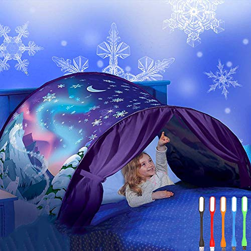 Nifogo Tiendas Carpa de Ensueño Bed Tent Magical World Carpa Impermeable Ensueño Wizard Children Play Cama Tienda Campaña (B- Copo de Nieve)