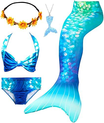 Le SSara Conjunto de 5 Piezas Colas de Sirena para Nadar Traje de Baño para Niñas Princesa Bikini 3-12 años (Sin Monofin) (DH84(YBlu), 5-6 Años)