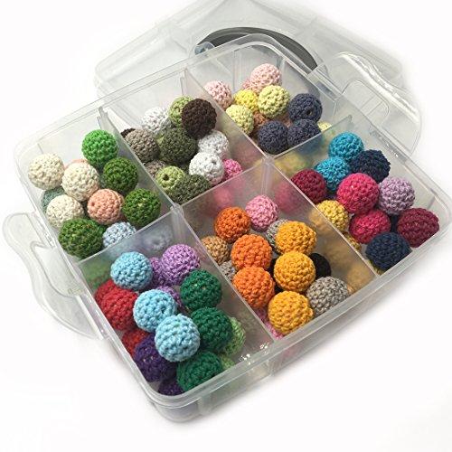 Coskiss DIY Baby Teether Juguetes Accesorios Kit 108pcs 14mm (0.55inch) mezcla de color Crochet cuentas mezclando la libertad creativa para el bebé dentición Collar Decoración (A130)