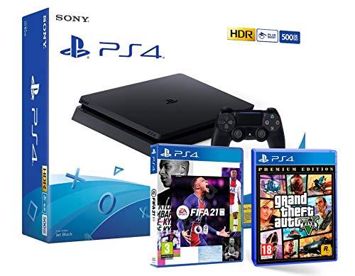 PS4 Slim 500Gb Negra Playstation 4 Consola + FIFA 21 + GTA V Grand Theft Auto 5