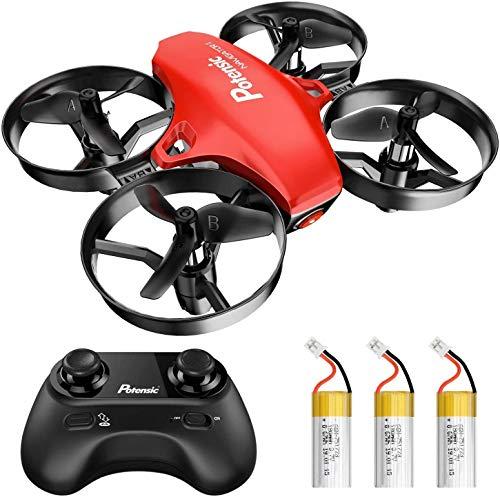 Potensic Mini Drone RC Helicopter Quadcopter para Niños y Principiantes con Control Remoto, Modo sin Cabeza, Altitude Hold, 3 Modos de Velocidad, 3 Baterías, A20 Rojo
