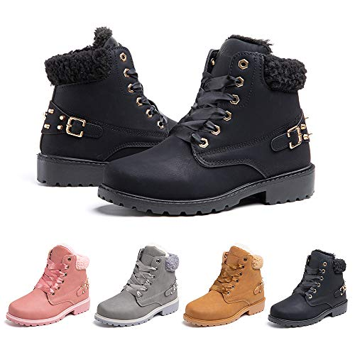 Botas Mujer Invierno Nieve de Cuero PU Zapatos Planas Calentar Piel Forro Cordones Botas Senderismo Snow Boots Outdoor Negro 40 EU