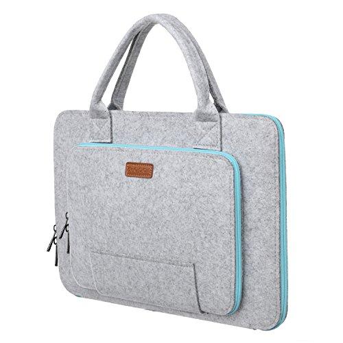 Ropch Funda para Ordenadores Portátiles 11 11,6 Pulgadas Fundas Blandas de Fieltro Laptop Sleeve Case para 11,6' Asus / Acer / HP / Lenovo / Toshiba (Gris & Azul Claro)