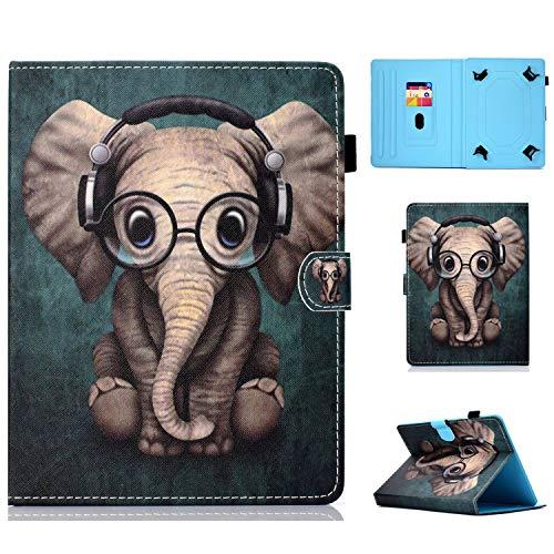 HereMore Funda Tablet de 9-10.1', Case Carcasa Protectora de Cuero para Galaxy Tab A6 10.1, Huawei MediaPad T3/T5 10/M5 Lite 10 LNMBBS 10.1, BQ Aquaris M10,Yuntab K17, Lenovo TB-X103F, Elefante