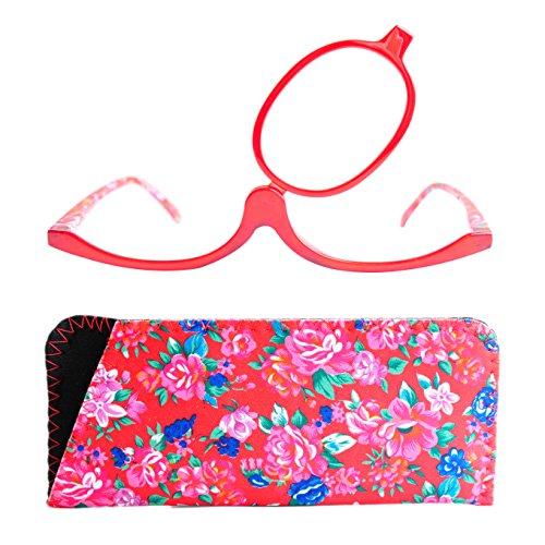 Gafas de Maquillaje, Gafas Para Maquillarse con Lente Abatible,Gafas con Lente que Gira Para Ayudarte con el Maquillaje con Funda Gratuita, Dioptrías +3.0 (Rojos)