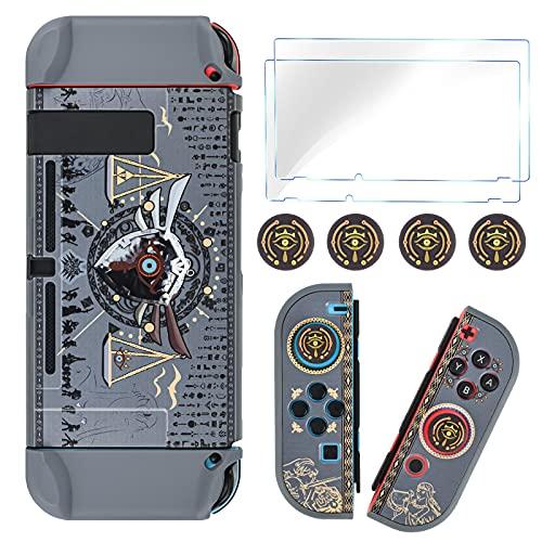 DLseego Zelda - Funda protectora acoplable compatible con Nintendo Switch, cubierta dura esmerilada con 2 protectores de pantalla de cristal y 4 tapas de agarre para el pulgar