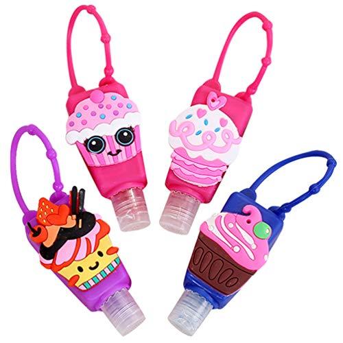 heekpek Botellas de Viaje Portátiles para Niños de Silicona para Desinfectante de Manos 4 Pack Contenedor de Viaje Accesorios Contenedor Desinfectante de Manos a Prueba de Fugas Rellenable (Helado)