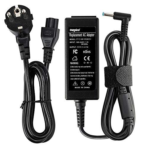 SUNYDEAL HP Adaptador 19.5V 45W 65W 90W AC/Suministro de Cable de alimentación para HP Stream 11 13 14 HP Pavilion X2 11 13 15 (45W HP 19.5V, 2.31A 4.5 * 3.0mm)