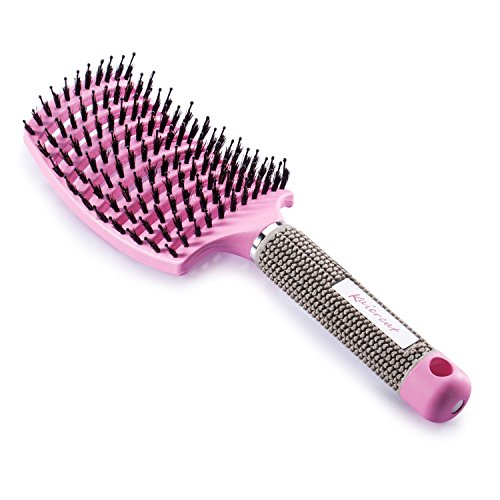 Cepillo Kaiercat de cerdas de jabalí. mejor en desenredar cabello grueso ventilado para un secado más rápido con cerdas de jabalí 100% naturales para la distribución del aceite en el cabello (Rosa)
