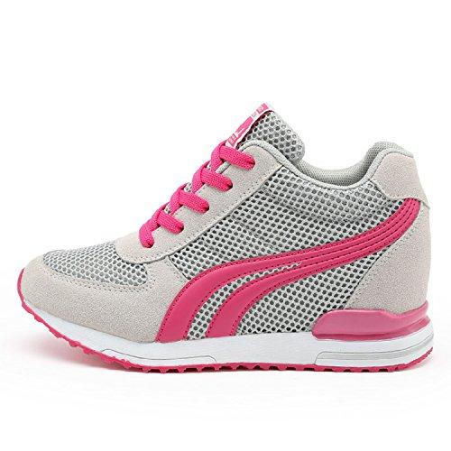 AONEGOLD Zapatillas de Cuña para Mujer Zapatillas de Deporte Zapatillas Altas Primavera/Verano Tacón Cuña 7CM(Gris,39 EU)