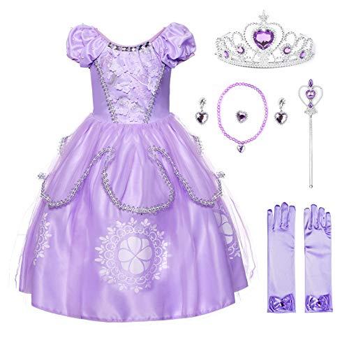 JerrisApparel Niña Disfraz de Princesa Sofía Tul Cumpleaños Partido Vestido (3 años, Lila con Accesorios)