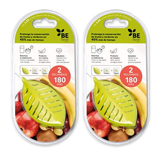 BEfresh HOME - Frutas y verduras FRESCAS durante un 40% más de TIEMPO | Para uso dentro y fuera de la nevera | Pack de 1 año | 2 Recipientes + 4 Sachets | Made in Spain