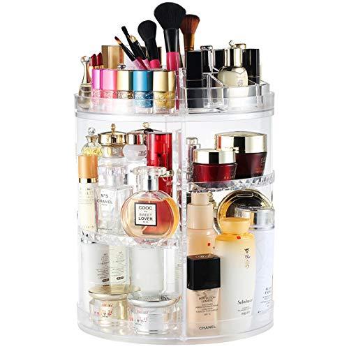 Boxalls Organizador de Maquillaje de Giratorio, Transparentes   Organizador de Cosméticos con Rotación 360 Grados, Ajustable, Compartimento de Almacenamiento de Cosméticos con Múltiples Funciones