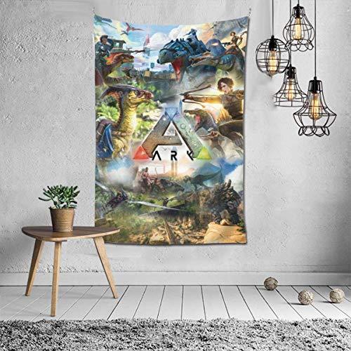 shibeili Juego ARK Survival Evolved Poster Personalice el tapiz de pared para el hogar fácil de colgar, el mantel de tela se puede utilizar para la sala de estar Decoración de la pared del apartamento