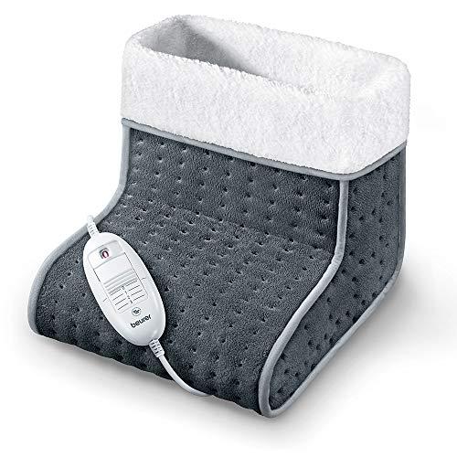 Beurer FW20 - Calienta pies cosy apto para pies grandes, superficie suave y transpirable, 3 potencias, calentamiento ultrarrápido, 100 W, color gris marengo