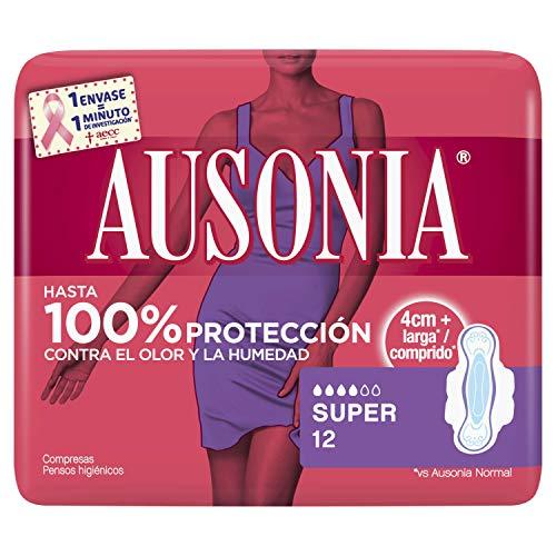 Ausonia Super Compresas con alas absorbentes, neutralizan el olor, finas, 12unidades