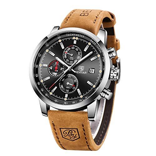 Relojes para Hombre BENYAR Cronógrafo Movimiento Cuarzo Impermeable 3AMT Diseño Militar Deportivo de Moda Relojes de Pulsera Correa de Cuero Regalo Elegante
