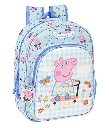 Safta Mochila Escolar Infantil Animada de Peppa Pig Urban Farmer, 260x110x340 mm, Azul Claro/Multicolor