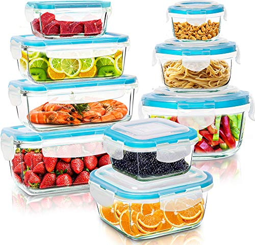 KICHLY - Recipientes de vidrio para comida - 18 pieza (9 envase y 9 transparente tapa) - Apto para lavavajillas, microondas y congelador - Hermético - Sin BPA, aprobado por la FDA y la FSC