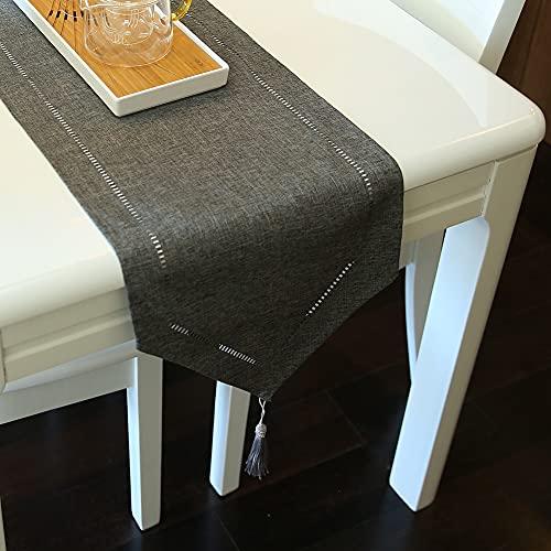 ARVOV Camino de mesa con aspecto de lino, lavable, elegante, tejido para el hogar, para comedor, fiestas, vacaciones, decoración, 32 x 180 cm (gris oscuro)