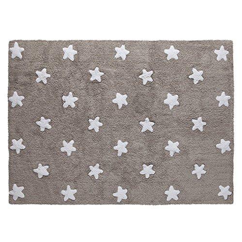 Lorena Canals - Alfombra Lavable (Lino), diseño de Estrellas, Color Blanco